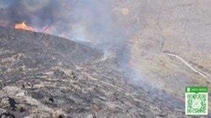 Unos 70 bomberos trabajan en la extinción del incendio de Huércal de Almería, ya estabilizado