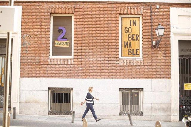 Imagen del edificio ubicado en la calle Gobernación con paseo del Prado okupado por La Ingobernable en Madrid. Vacío desde el año 2012, el edificio acogió dependencias de la Universidad Nacional de Educación a Distancia (UNED) y un centro de salud para Re