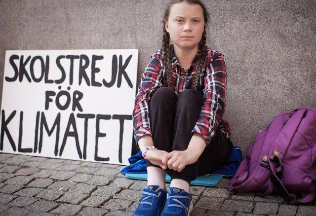 La joven activista sueca Greta Thunberg, en huelga contra el cambio climático