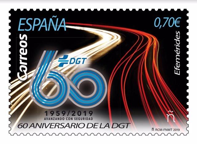 Sello de Correos que conmemora el 60 aniversario de la DGT