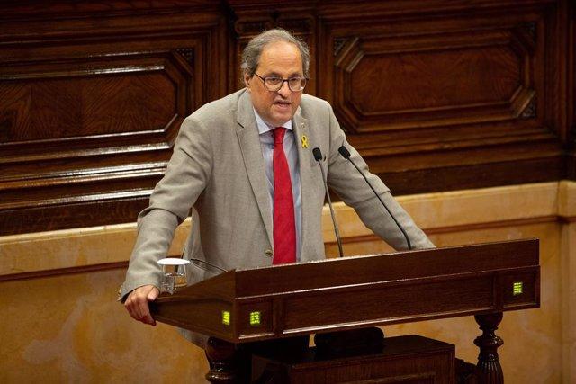 El Presidente Quim Torra Interviene En El Pleno Del Parlament De Catalunya