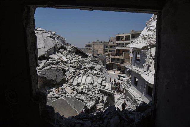 Ensulsiades provocades pels últims bombardejos en Idlib.