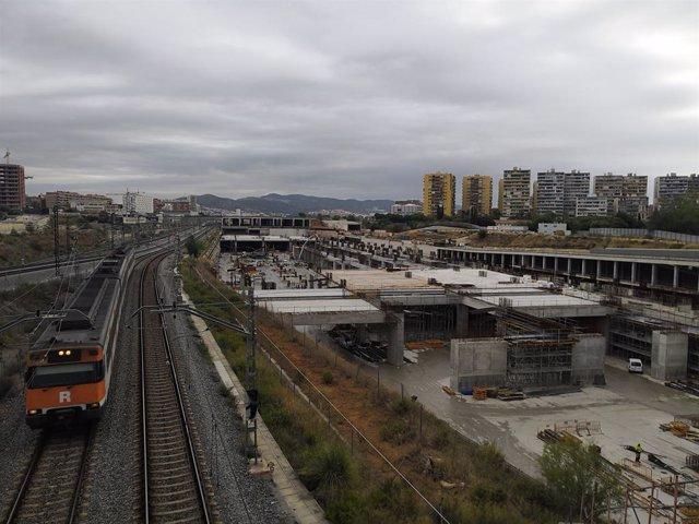 Obres de la futura estació de la Sagrera a Barcelona