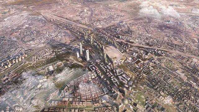 Vista aérea del nuevo desarrollo de Madrid Nuevo Norte.