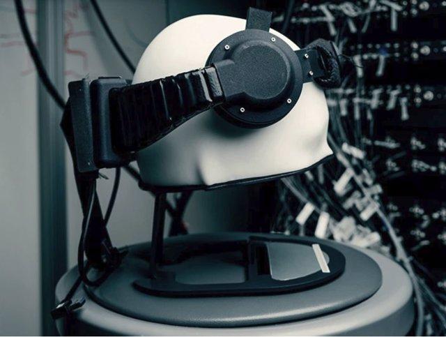 Kit de investigación de un dispositivo que se pudiera llevar en el cerebro basado en BCI, construido por los Facebook Reality Labs