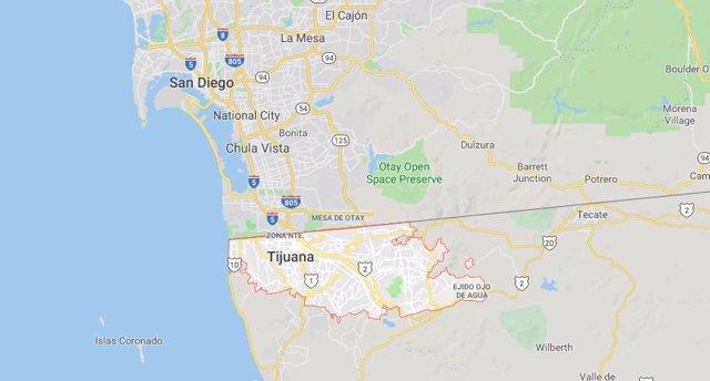 La ciudad mexicana de Tijuana en un mapa.