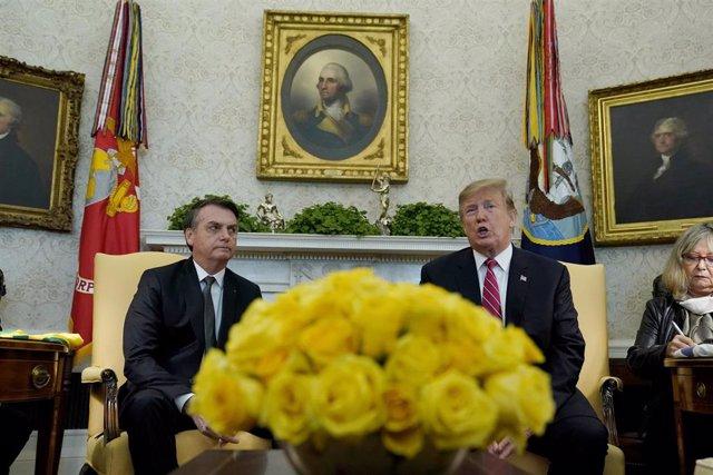 Jair Bolsonaro y Donald Trump durnate la visita del presidente brasileño a la Casa Blanca.
