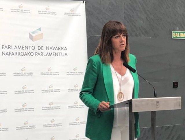 Idoia Mendia, asiste al pleno de investidura de María Chivite en Navarra.
