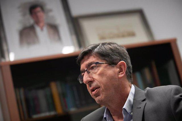 El vicepresidente de la Junta y líder andaluz de Cs, Juan Marín, durante la entrevista con Europa Press