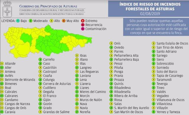 Índice De Riesgo Forestal En El Principado De Asturias Para Este Viernes 2 De Agosto De 2019.