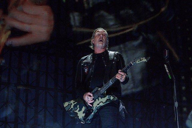 James Hetfield, de la banda estadounidense Metallica, en un concierto en Madrid el 3 de mayo en Valdebebas- IFEMA (Madrid).