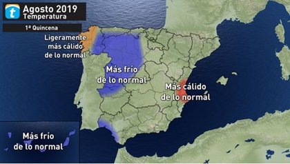 Agosto arranca con temperaturas poco habituales en el oeste peninsular y el archipiélago canario, según Eltiempo.es