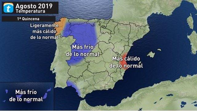 Predicción de temperaturas para la primera quincena de agosto en la Península