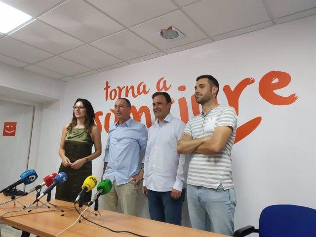Aitana Mas, Joan Baldoví, Natxo Bellido y Gerard Fullana este jueves en Alicante.