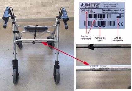 Sanidad informa sobre la posibilidad de que andadores Rolator de aluminio 'Ergo' se rompan por el armazón superior