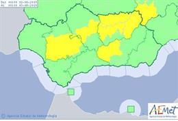Aviso amarillo en varias provincias andaluzas vigente el viernes 2 de agosto de 2019