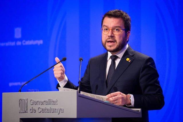 El vicepresidente y consejero de Economía y Hacienda de la Generalitat, Pere Aragonés, en rueda de prensa tras el Consell Executiu.