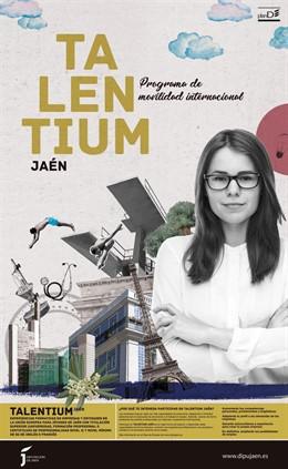 Cartel de las becas Talentium convocadas por la Diputación de Jaén.