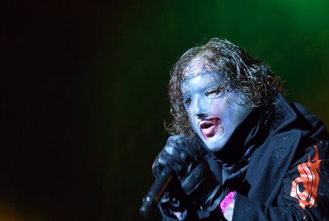 "13 June 2019, Austria, Nickelsdorf: Singer Corey Taylor from the band ""Slipknot"" performs on the ""XX Stage"" during the ""Nova Rock 2019"" festival. Photo: Herbert P. Oczeret/APA/dpa"
