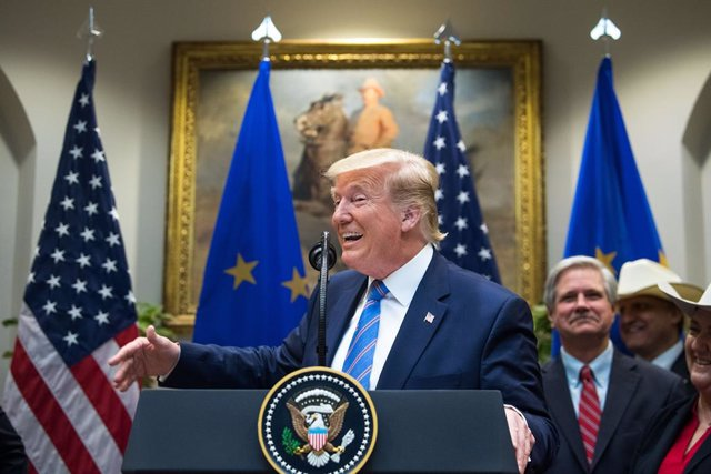 August 2, 2019 - Washington, DC USA: President Donald Trump jokes about putting a tariff on European cars as he speaks on a U.S. beef trade deal with the European Union, in the Roosevelt Room at the White House in Washington, DC on Friday, August 2, 2019.