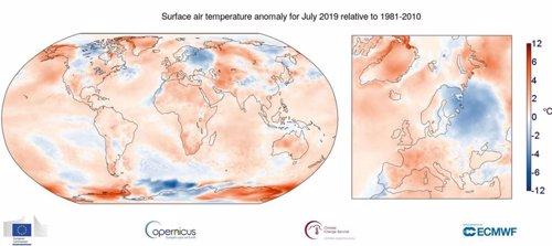 Anomalía de temperaturas para julio de 2019