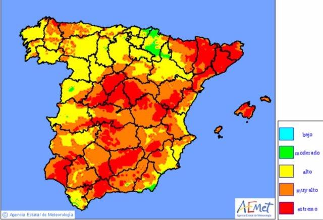Tres cuartas partes de España estarán este martes, 6 de agosto, en riesgo elevado de incendios, según la predicción de la Agencia Estatal de Meteorología (AEMET)
