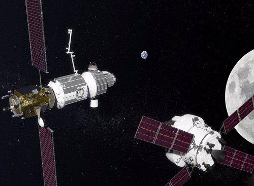 Recreación de una nave Orion llegando a la estación orbital lunar Gateway