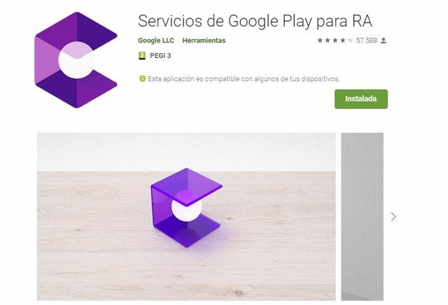 Aplicación de Servicios de Google Play para RA