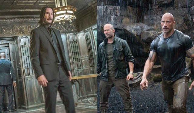 Keanu Reeves en John Wick y Jason Statham y Dwayne Johnson en Hobbs and Shaw