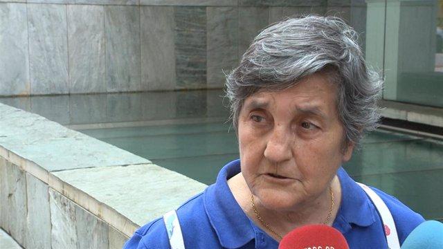 La presidenta de la Asociación Clara Campoamor, Blanca Estrella Ruiz, en unas declaraciones a los medios de comunicación