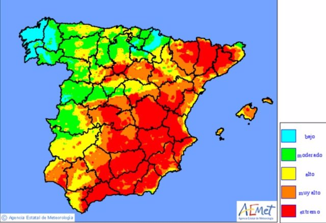 El riesgo elevado de incendios se reduce y se concentrará este 7 de agosto en la mitad este peninsular, según AEMET