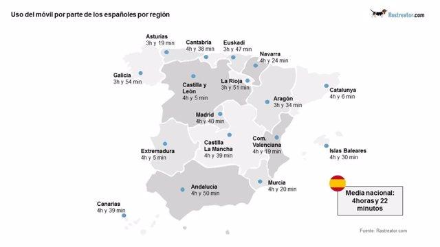 Mapa de adicción al móvil en España