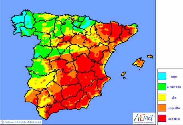 El risc elevat d'incendis es redueix i es concentrar aquest 7 d'agost en la meitat aquest peninsular, segons AEMET