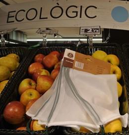 Bolsa de malla en los supermercados Caprabo