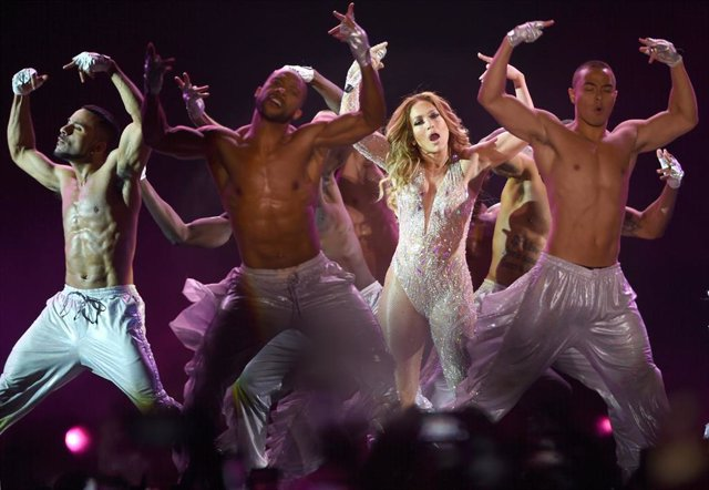 August 4, 2019 - Moscow, Russia: American singer and actress Jennifer Lopez performs at the VTB Arena stadium. (Kristina Kormilicyna/Kommersant/Contacto)