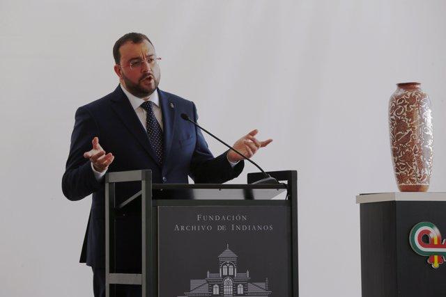 El presidente del Principado, Adrián Barbón, en  II Encuentro Hispano Americano