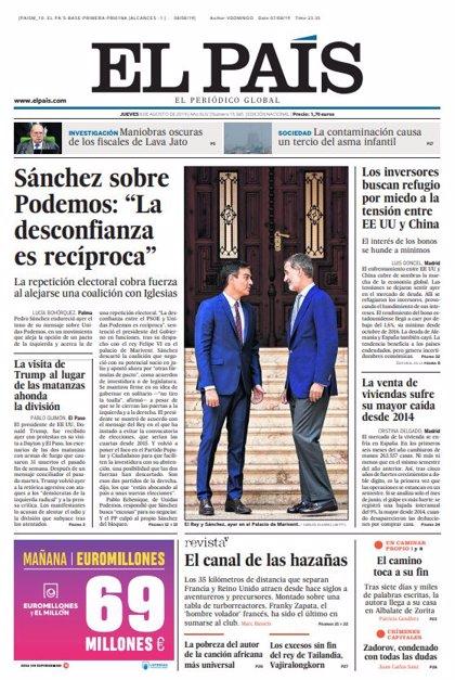 Las portadas de los periódicos del jueves 8 de agosto de 2019
