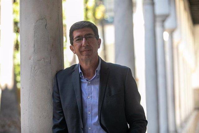 El vicepresidente de la Junta y consejero de Turismo, Regeneración, Justicia y Administración Local, Juan Marín, en el Parlamento