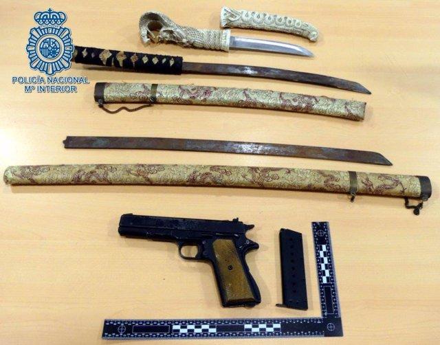 Armas requisadas por la Policía Nacional.S