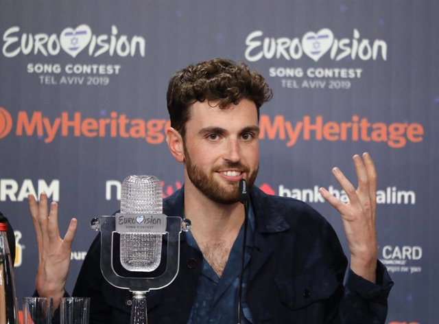 19 May 2019, Israel, Tel Aviv: Duncan Laurence from the Netherlands speaks during a press conference after winning the final of the 2019 Eurovision Song Contest. Photo: Ilia Yefimovich/dpa