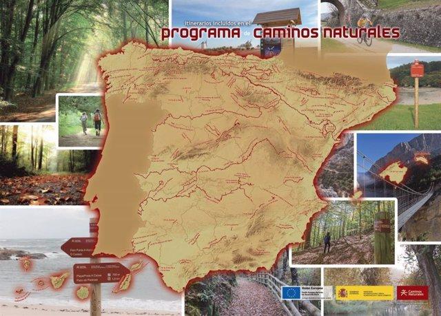 Cartel del Programa de Caminos Naturales del Ministerio de Agricultura, Pesca y Alimentación.