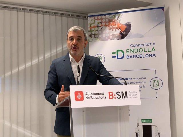 L'alcalde accidental de Barcelona, Jaume Collboni, en roda de premsa a la seu el B:SM.