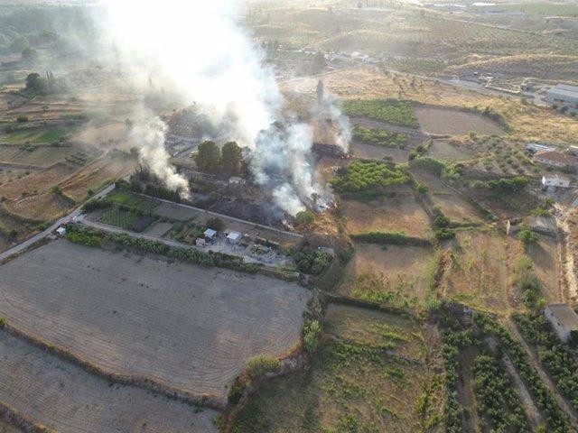 Incendio agrícola ocurrido en el paraje La Vereda de Valentín, en el término municipal de Cehegín