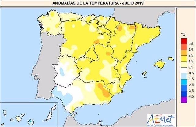 Anomalías de la temperatura en julio de 2019 en España