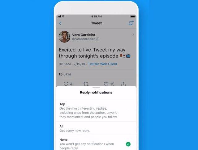 Función de notificaciones por respuestas de Twitter