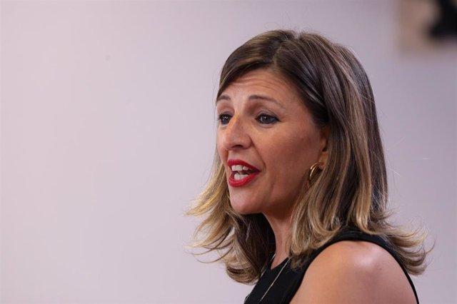 La diputada de En Común Unidas Podemos, Yolanda Díaz Pérez.