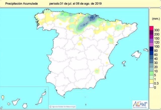 Precipitaciones del 31 de julio al 6 de agosto de 2019