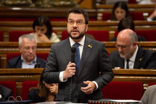 El vicepresidente de la Generalitat, Pere Aragonés, en una intervención en el Parlament