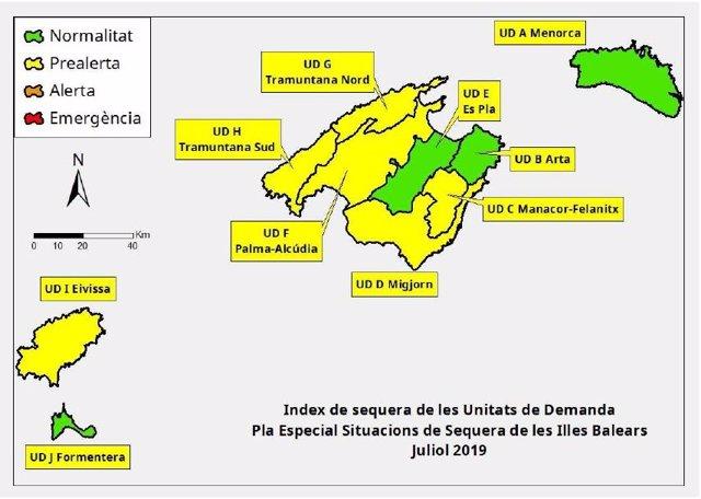 Índexs de sequera en Balears durant juliol