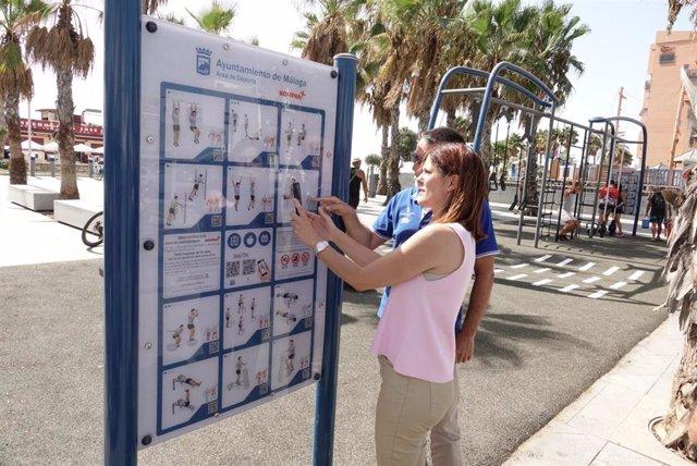Noelia Losada en la nueva zona de entrenamiento al aire libre en el paseo martítimo Antonio Banderas